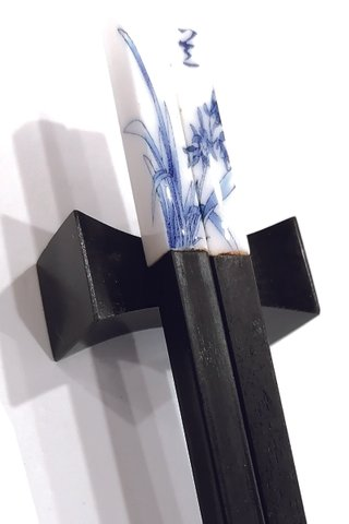 Porcelain 4 Season-Flowers Design | Ebony Wood Chopsticks and Holders Dining Set