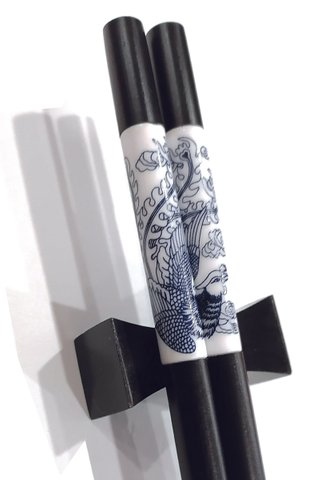 Imitation Porcelain Blue Dragon and Phoenix Design | Ebony Wood Chopsticks and Holders Dining Set