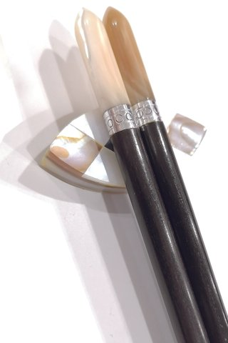 Ebony Wood With White Pearl Chopsticks and Holders Dining Set