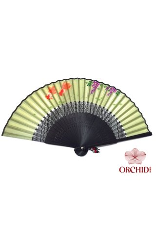 golden fish | Tortoise-shell Bamboo And Silk Handmade Foldable Fan