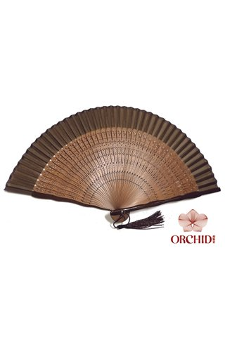 plain brown 2 | Chinese Handmade Tortoise-shell Bamboo And Silk Fan