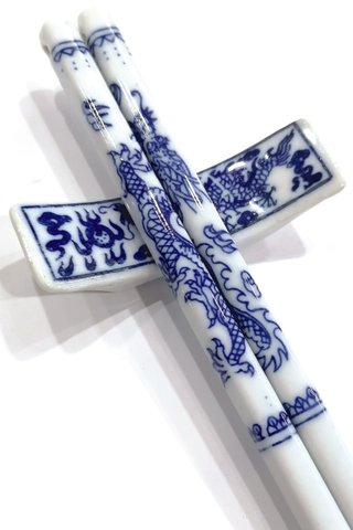 Blue Dragon Design | Porcelain Chopsticks and Holders Dining Set