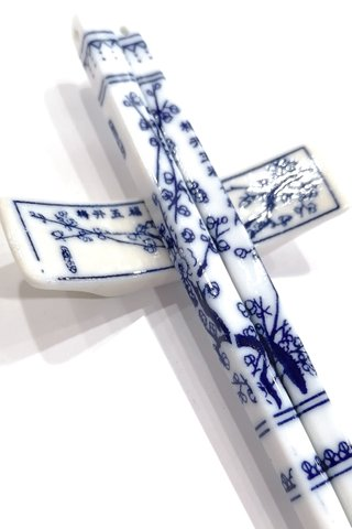 Blue Plum Design | Porcelain Chopsticks and Holders Dining Set