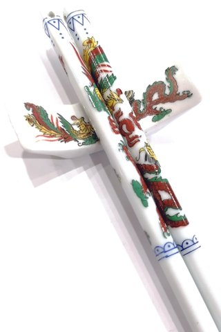 Dragon and Phoenix Design | Porcelain Chopsticks and Holders Dining Set