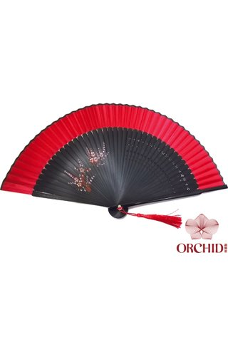 red base red plum | Handpainted Design Tortoise-shell Bamboo And Silk Folding Hand Fan
