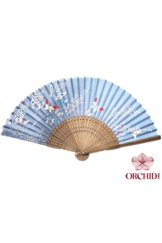 red blue butterfly  | Butterfly and Flower Design Hand Fan