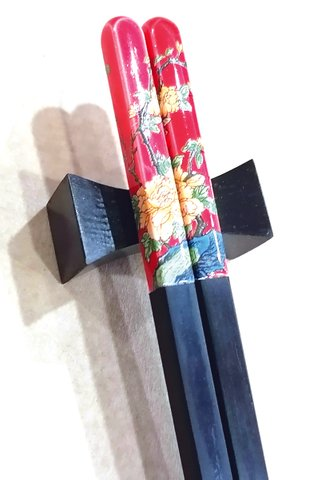 Porcelain Red Base Golden Peony Design | Ebony Wood Chopsticks and Holders Dining Set