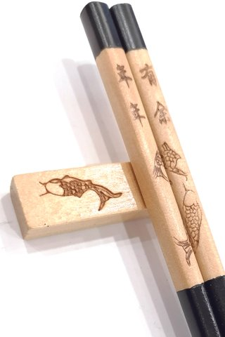 Fish Design Stamped Wood Chopsticks and Holders Dining Set