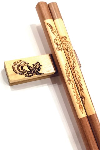 Dragon and Phoenix Design | Ironwood Chopsticks and Holders Dining Set Wedding Gift