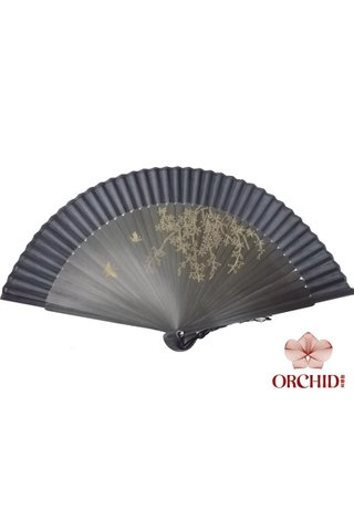 black butterfly | Handpainted Design Tortoise-shell Bamboo And Silk Folding Hand Fan