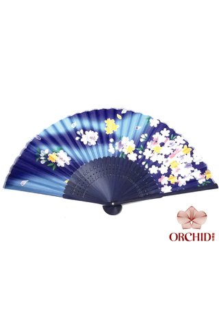 blue flower| Bamboo And Silk Chinese Style Fan
