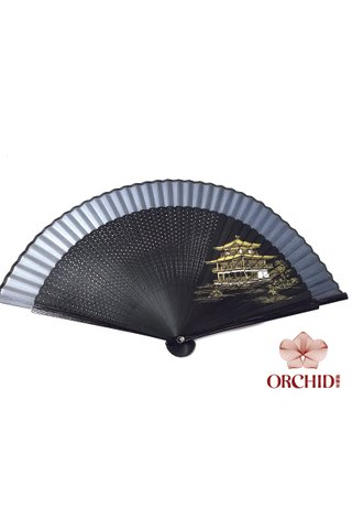 building b | Handpainted Design Tortoise-shell Bamboo And Silk Folding Hand Fan