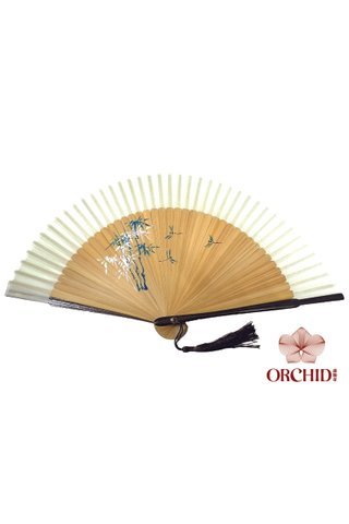 green bamboo | Handpainted Design Tortoise-shell Bamboo And Silk Folding Hand Fan