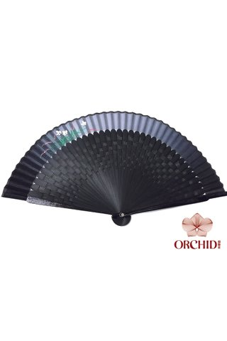 orchid | Handpainted Design Tortoise-shell Bamboo And Silk Folding Hand Fan