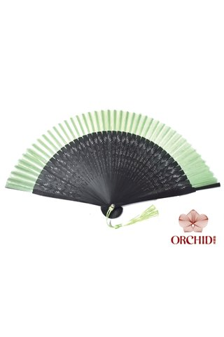 plain green| Chinese Handmade Tortoise-shell Bamboo And Silk Fan