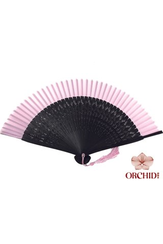 plain pink | Chinese Handmade Tortoise-shell Bamboo And Silk Fan