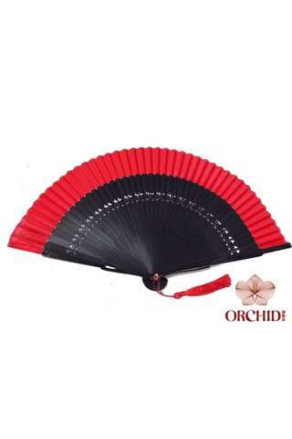 plain red | Chinese Handmade Tortoise-shell Bamboo And Silk Fan