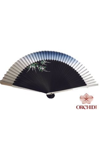 silver | Handpainted Design Tortoise-shell Bamboo And Silk Folding Hand Fan