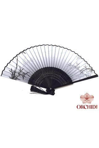 silver orchid | Chinese Style Handmade Bamboo And Silk Hand Fan