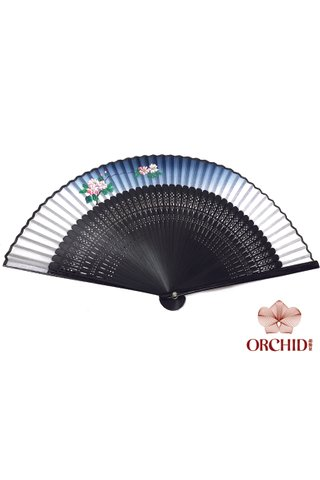 vine | Handpainted Design Tortoise-shell Bamboo And Silk Folding Hand Fan