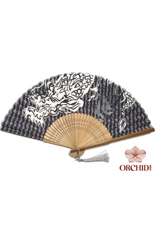 white dragon | Bamboo And Silk Chinese Style Fan
