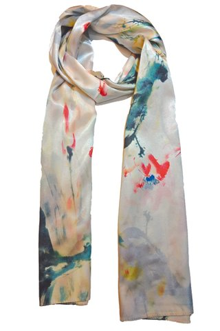 Silk Scarf Pattern Long Wrap Scarf Shawl Silk Imitation Beach Towel 38