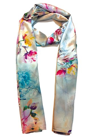 Silk Scarf Pattern Long Wrap Scarf Shawl Silk Imitation Beach Towel 40