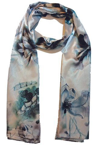 Silk Scarf Pattern Long Wrap Scarf Shawl Silk Imitation Beach Towel 26