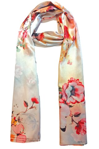 Silk Scarf Pattern Long Wrap Scarf Shawl Silk Imitation Beach Towel 11