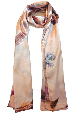 Silk Scarf Pattern Long Wrap Scarf Shawl Silk Imitation Beach Towel 17
