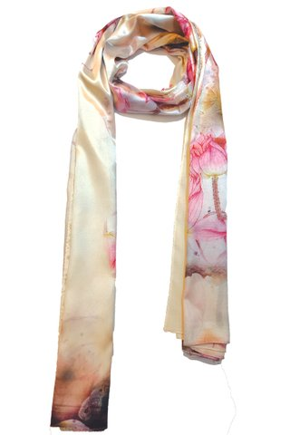 Silk Scarf Pattern Long Wrap Scarf Shawl Silk Imitation Beach Towel 7