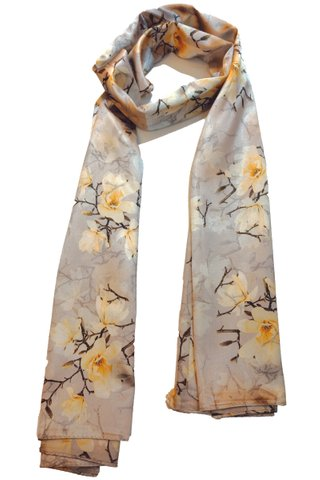 Silk Scarf Pattern Long Wrap Scarf Shawl Silk Imitation Beach Towel 8