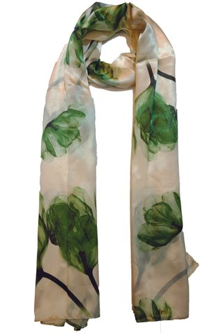 Silk Scarf Pattern Long Wrap Scarf Shawl Silk Imitation Beach Towel 4