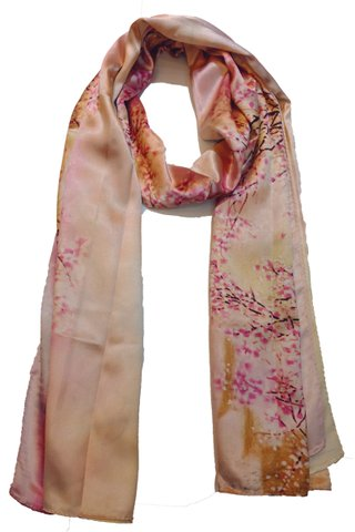 Silk Scarf Pattern Long Wrap Scarf Shawl Silk Imitation Beach Towel 5