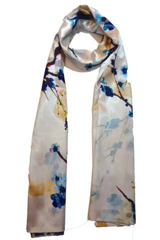 Silk Scarf Pattern Long Wrap Scarf Shawl Silk Imitation Beach Towel 9