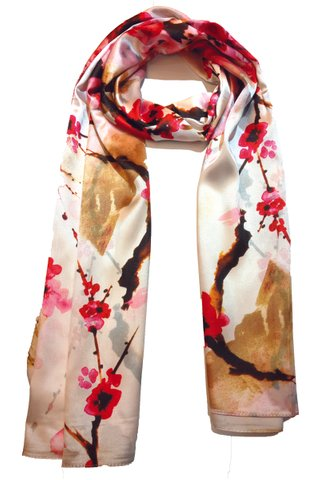 Silk Scarf Pattern Long Wrap Scarf Shawl Silk Imitation Beach Towel 1