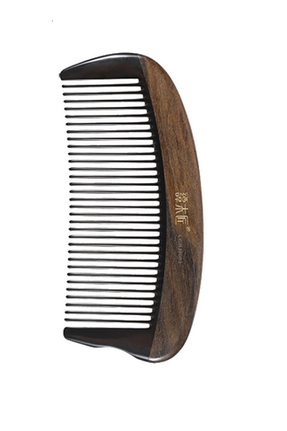 8100566 | Tan's Natural Wood With Horn Comb | Small Antistatic Comb
