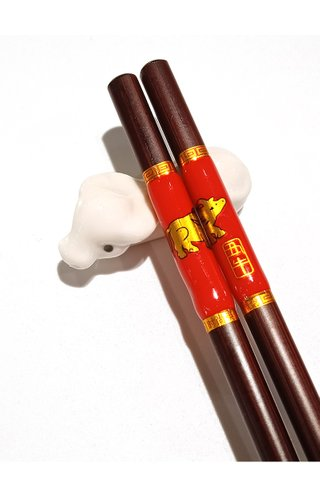 Chinese 12 Zodiac Ox Design Wooden Chopsticks With Porcelain Holder Customized Personal Chopsticks Gift Set