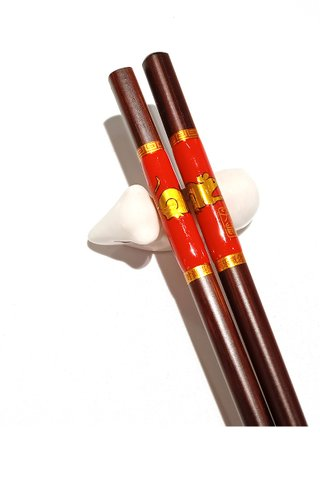 Chinese 12 Zodiac Design Wooden Chopsticks With Porcelain Holder Customized Personal Chopsticks Gift Set