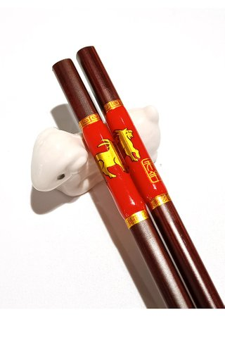 Chinese 12 Zodiac Sheep Design Wooden Chopsticks With Porcelain Holder Customized Personal Chopsticks Gift Set