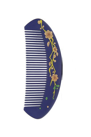 8100013 | Raw Lacquer Box Wood Handpainted Design Comb Gift Set