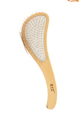 8100311 | Tan's Copper Needle Comb Teeth And Planchonella sp. Wooden Handle Hair Brush