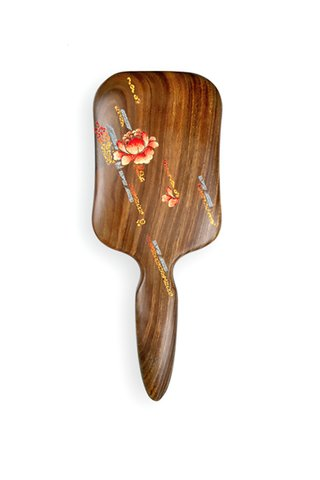 8100249 | Tan's Green Sandal Wood Hair Brush With Handpainted Flower Design