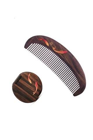 8100263 |Tan's Natural Chacate Preto Wood Fish Design Antistatic Comb And Mirror 2 in 1 Gift Set
