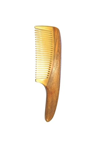 333 | Tan's Horn Teeth With Green Sandal Wood Handle Antistatic Comb