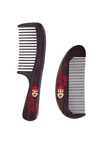 8100346 | Tan's Handmade and Handpainted Double Happiness Design Wedding Comb 2 in 1 Gift Set