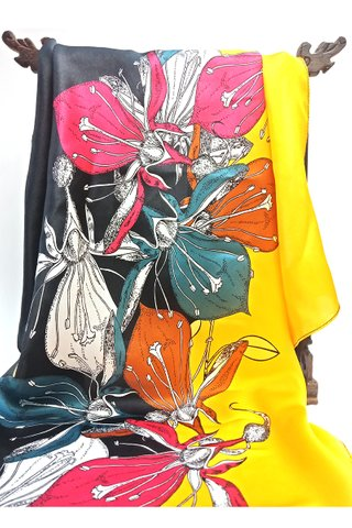 100% Silk Scarf Smooth and Soft Big Square Scarf For Female 17