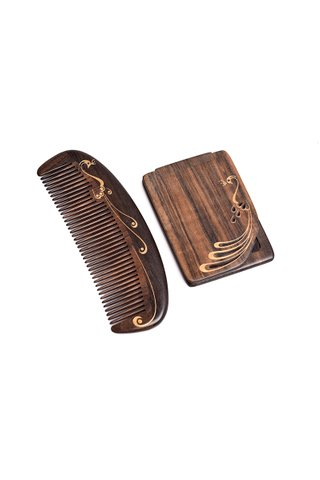 8100010 | Tan's Handmade Natural Chacate Preto Wood Comb and Mirror 2 in 1 Gift Set