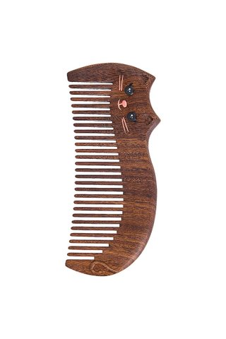 8101008 | Tan's Handmade African Teak Wooden Comb With Lazy Cat Design Gift Set