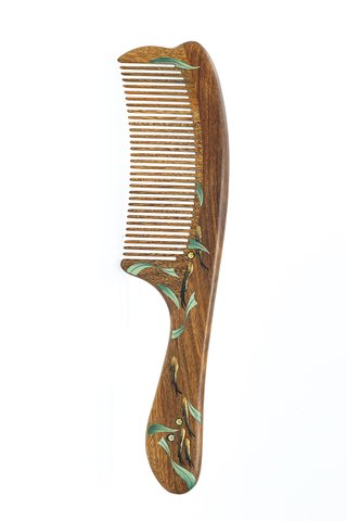 8100344 | Tan's Green Sandal Wooden Comb With Lacquer Art Crystal Inlay Design